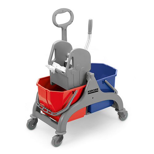 Wózek z dwoma wiadrami po 15L i prasą
